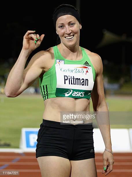 Jana Pittman celebrates winning the Womens 400 Metre Hurdle final during the Australian Athletics Tour final held at the West Australian Athletics...
