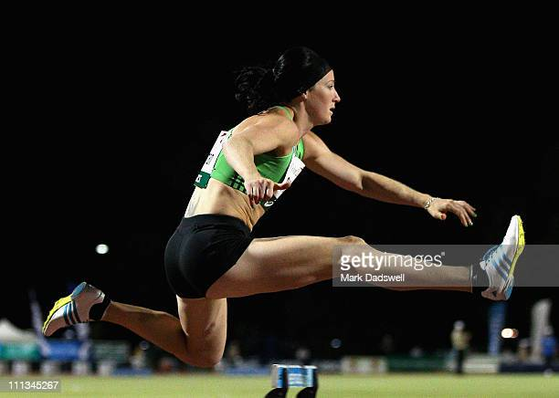 Jana Pittman clears hurdle one in the Womens 400 Metre Hurdle final during the Australian Athletics Tour final held at the West Australian Athletics...