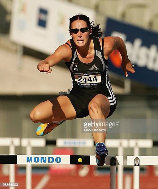 Jana Pittman clears the last hurdle to win her heat of the Womens 400 Metre Hurdles qualifying during day one of the Victorian Athletic Championships...