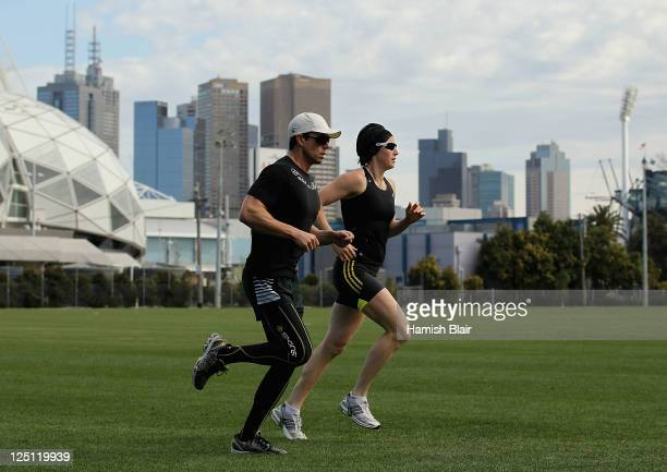 Jana Pittman competes in a training session at Olympic Park on September 16 2011 in Melbourne Australia