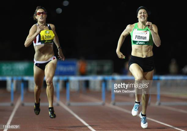 Jana Pittman crosses the line to win the Womens 400 Metre Hurdle final during the Australian Athletics Tour final held at the West Australian...