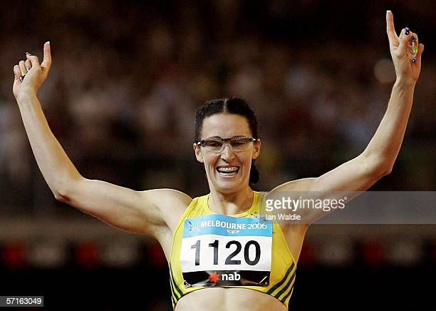Jana Pittman of Australia celebrates winning the women's 400 metre Hurdles final at the athletics during day eight of the Melbourne 2006 Commonwealth...