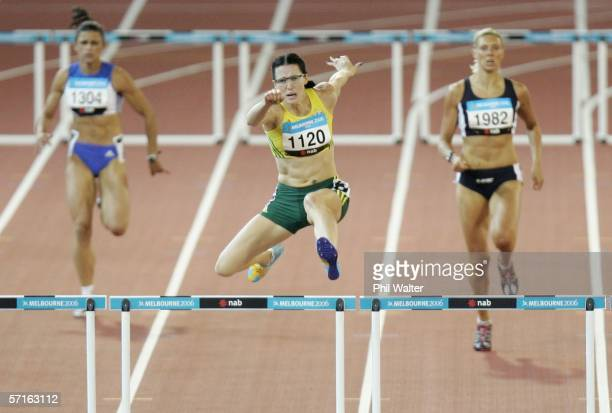 Jana Pittman of Australia competes in the women's 400 metre Hurdles final at the athletics during day eight of the Melbourne 2006 Commonwealth Games...