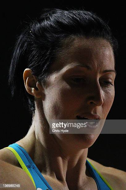 Jana Pittman of Australia looks on after running in the Women's 300 Metre Open during the 2012 Brisbane Track Classic at Queensland Sport and...