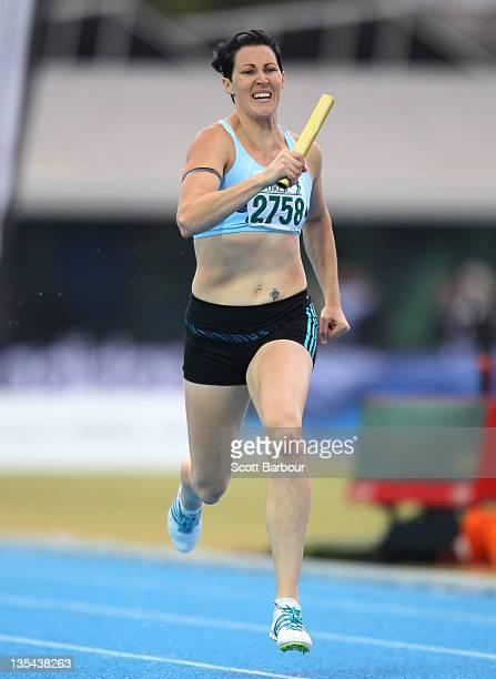 Jana Pittman of Glen Huntly runs during the Victorian 4x400m Womens Final during the 2011 Zatopek Classic at the Victorian Athletics Centre on...