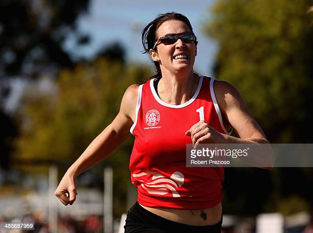 Jana Pittman of NSW competes in Lorraine Donnan Women's Handicap 400 Metres Heat 2 during the 2014 Stawell Gift meet at Central Park on April 20 2014...