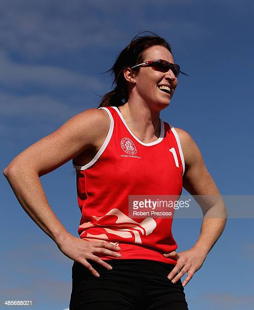 Jana Pittman of NSW looks on after competing in Lorraine Donnan Women's Handicap 400 Metres Heat 2 during the 2014 Stawell Gift meet at Central Park...