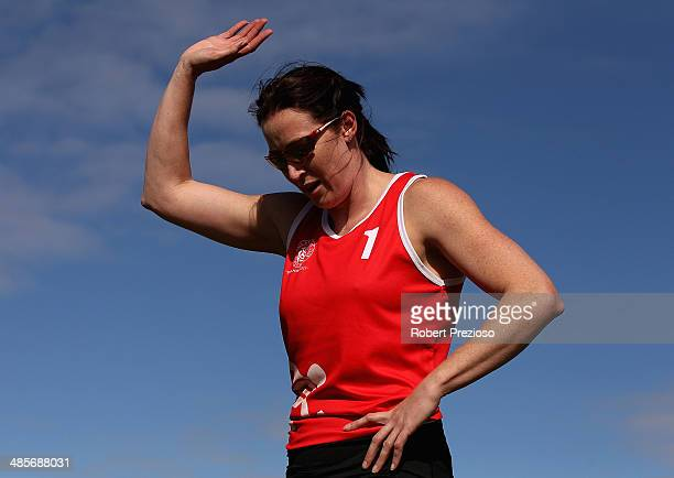 Jana Pittman of NSW thanks fans after competing in Lorraine Donnan Women's Handicap 400 Metres Heat 2 during the 2014 Stawell Gift meet at Central...