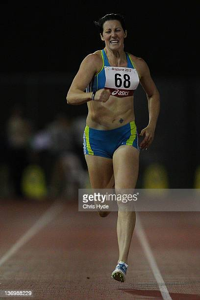 Jana Pittman runs in the Women's 300 Metre Open during the 2012 Brisbane Track Classic at Queensland Sport and Athletics Centre on January 14 2012 in...