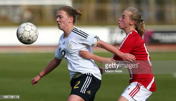 Jana Schwanekamp of Germany and Siv Joerup of Denmark battle for the ball during the international friendly match between U16 Denmark and U16 Germany...