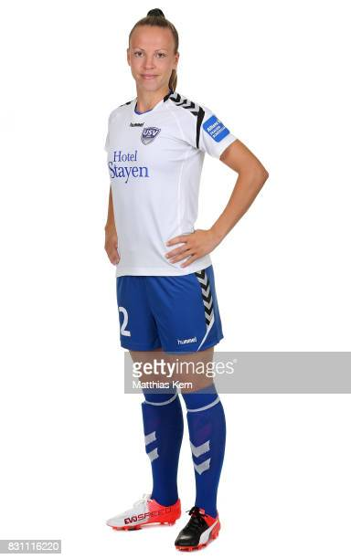 Jana Sedlackova of FF USV Jena poses during the Allianz Frauen Bundesliga Club Tour at Ernst Abbe Sportfeld on August 11 2017 in Jena Germany
