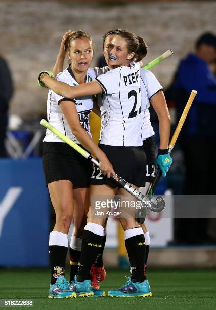 Jana Teschke of Germany celebrates at the final whistle with team mates during day 6 of the FIH Hockey World League Women's Semi Finals quarter final...