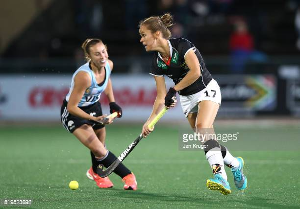 Jana Teschke of Germany controls the ball from Florencia Habif of Argentina during day 7 of the FIH Hockey World League Women's Semi Finals semi...