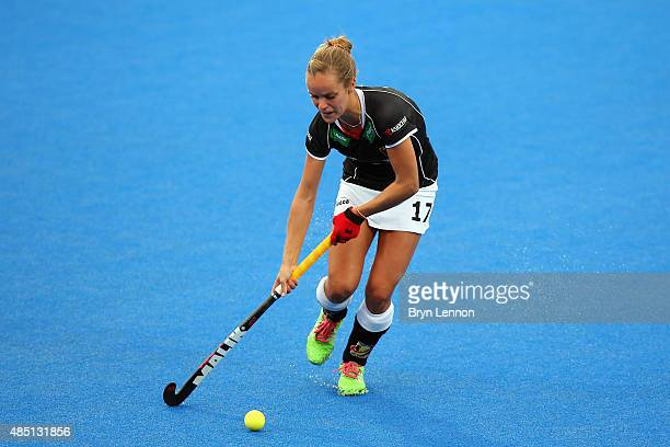 Jana Teschke of Germany in action during match 7 between Scotland and Germany on day four of the Unibet EuroHockey Championships at Lee Valley Hockey...