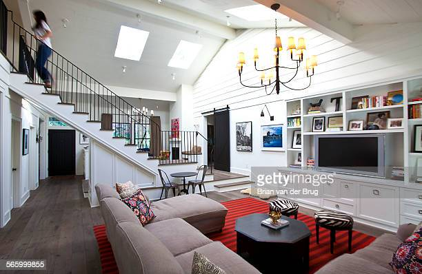 Jana Winograde and Todd Sandler's remodeled house features a light bright contemporary living room with ranchesque elements December 10 2013 in...