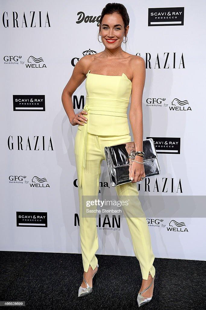Jana-Ina Zarrella attends the Milian by Annette Goertz show during Platform Fashion Dusseldorf on February 1, 2014 in Dusseldorf, Germany.