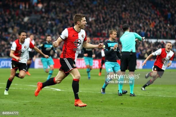 JanArie van der Heijden of Feyenoord celebrates scoring his side's second goal during the Dutch Eredivisie match between Feyenoord and PSV Eindhoven...
