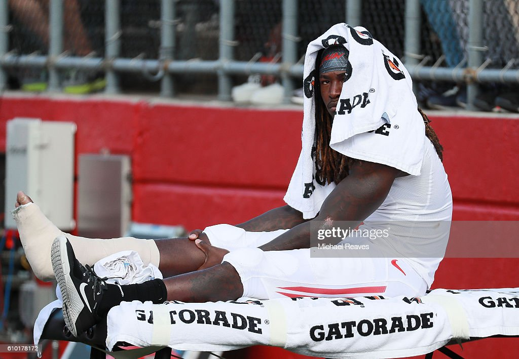 Janarion Grant #1 of the Rutgers Scarlet Knights watches from the sidelines after getting injured against the Iowa Hawkeyes at High Point Solutions Stadium on September 24, 2016 in Piscataway, New Jersey.
