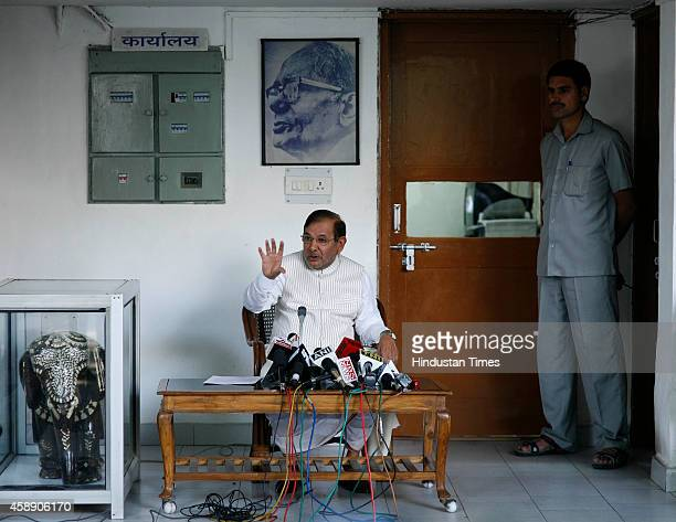 Janata Dal United party President Sharad Yadav during press conference at his residence on the issue of Bilaspur sterilization tragedy on November 13...