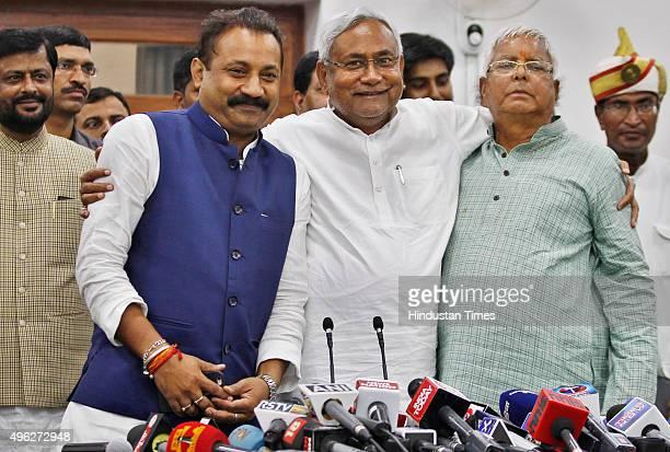 Janata DalUnited leader Nitish Kumar and Rashtriya Janta Dal leader Lalu Prasad Yadav and Ashok Choudhary President of the Bihar Pradesh Congress...