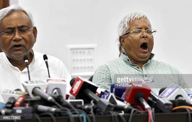 Janata DalUnited leader Nitish Kumar and Rashtriya Janta Dal leader Lalu Prasad Yadav during a press conference after landslide victory in Bihar...
