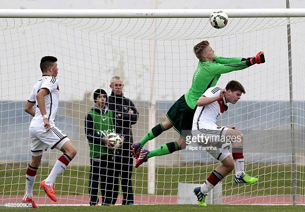 JanChristoph Bartels of Germany clashes with teammate Florian Baak during the U16 UEFA development tournament between Germany and Netherlands on...