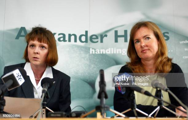 Jane Ashton Hibbert of the Shipman Family Support Group sits with her solicitor Ann Alexander during a press conference in Altrincham Greater...