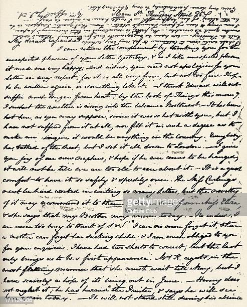 Jane Austen Letter from English novelist to her sister Cassandra signed with initials on 25 April 16 December 1775 18 July 1817