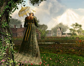 Rendered image of an elegant Jane Austen style woman strolling the countryside, Regency dress