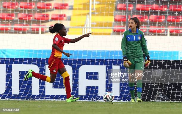 Jane Ayieyam of Ghana celebrates after scoring the opening goal during the FIFA U17 Women's World Cup 2014 quarter final match between Ghana and...