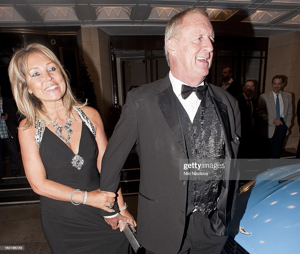 Jane Bird and <a gi-track='captionPersonalityLinkClicked' href=/galleries/search?phrase=Chris+Tarrant+-+Television+Presenter&family=editorial&specificpeople=208949 ng-click='$event.stopPropagation()'>Chris Tarrant</a> sighted leaving the Dorchester Hotel, Park Lane on October 5, 2013 in London, England.