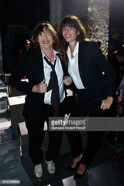 Jane Birkin and her daughter Lou Doillon attend the Saint Laurent show as part of the Paris Fashion Week Womenswear Spring/Summer 2017 on September...