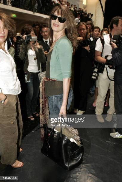 Jane Birkin attends the Jean Paul Gaultier Spring/Summer 2005 Fashion Show during Paris Fashion Week on July 8 2004 in Paris France