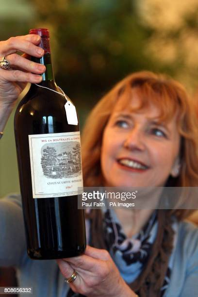Jane Boyce Northern Ireland's only Master of Wine and consultant to John Ross Auction house in Belfast with a magnum of Chateau Lafite 1967 which is...
