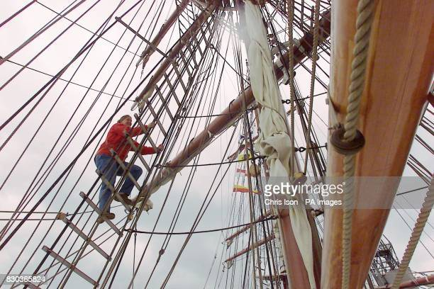 Jane Brooks 20 from Keswick gets Britain's newest square rigger ready for its naming ceremony at Tall Ships 2000 in Southampton The Stavros S...
