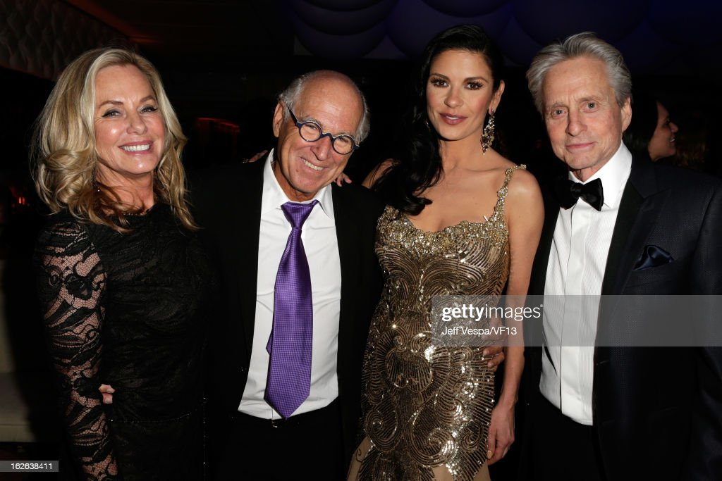 Jane Buffet, Jimmy Buffet <a gi-track='captionPersonalityLinkClicked' href=/galleries/search?phrase=Catherine+Zeta-Jones&family=editorial&specificpeople=167111 ng-click='$event.stopPropagation()'>Catherine Zeta-Jones</a> and <a gi-track='captionPersonalityLinkClicked' href=/galleries/search?phrase=Michael+Douglas&family=editorial&specificpeople=171111 ng-click='$event.stopPropagation()'>Michael Douglas</a> attend the 2013 Vanity Fair Oscar Party hosted by Graydon Carter at Sunset Tower on February 24, 2013 in West Hollywood, California.