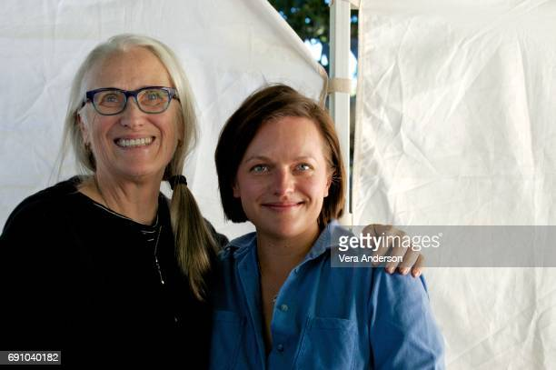 Jane Campion and Elisabeth Moss at the 'Top of the Lake' set visit on June 15 2016 in Sydney Australia