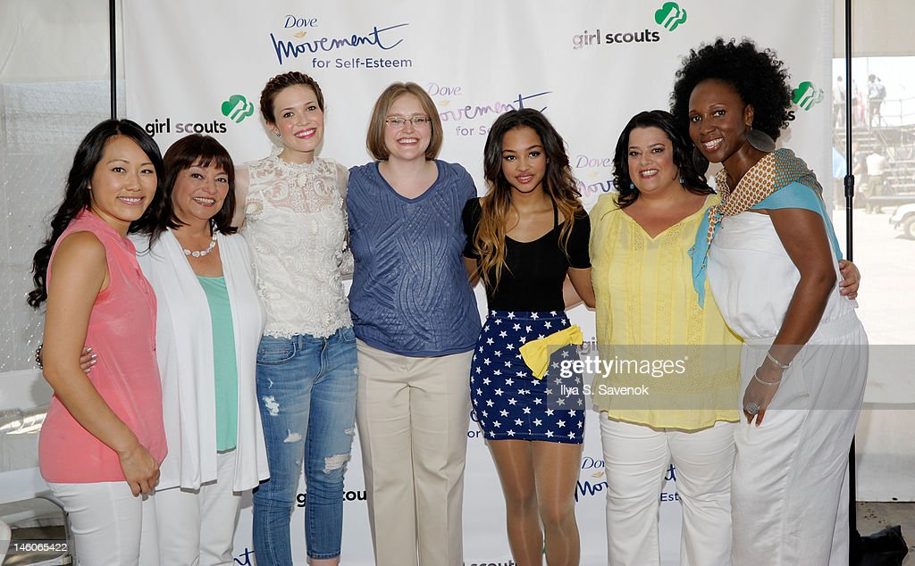 Jane Chen, Lydia Villa-Komaroff, Mandy Moore, Melanie Matchett Wood, Jessica Jarrell, Jess Weiner and Toni Blackman attend the Dove presentation of positive role models at 'Girl Scouts Rock The Mall' at the National Mall on June 9, 2012 in Washington, DC.