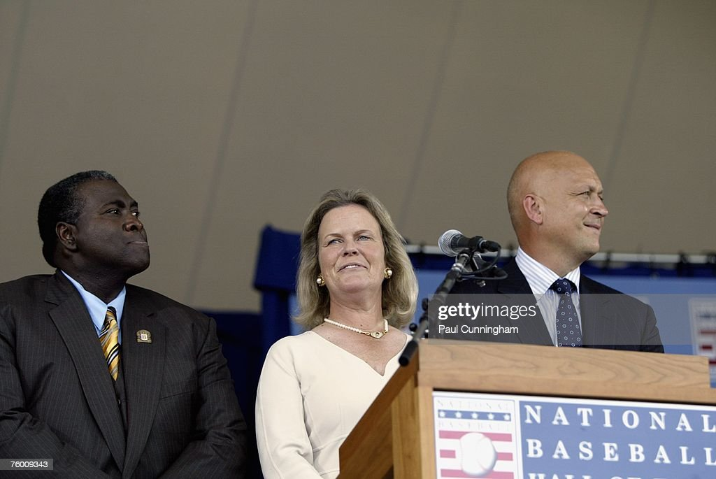Jane Clark of the Hall of Fame presents newly inducted Hall of Famers, Tony Gwynn and Cal Ripken Jr. during the Baseball Hall of Fame Induction Ceremonies at the Clark Sports Center in Cooperstown, New York on July 29, 2007.