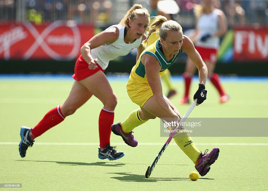 <a gi-track='captionPersonalityLinkClicked' href=/galleries/search?phrase=Jane+Claxton&family=editorial&specificpeople=10008974 ng-click='$event.stopPropagation()'>Jane Claxton</a> of Australia controls the ball during the Women's preliminaries match between Australia and England at Glasgow National Hockey Centre during day five of the Glasgow 2014 Commonwealth Games on July 28, 2014 in Glasgow, United Kingdom.