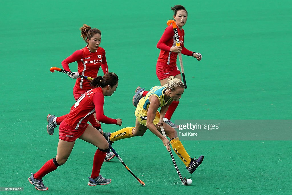 Jane Claxton of Australia looks to pass the ball during the International Test match between the Australian Hockeyroos and Korea at Perth Hockey Stadium on April 27, 2013 in Perth, Australia.