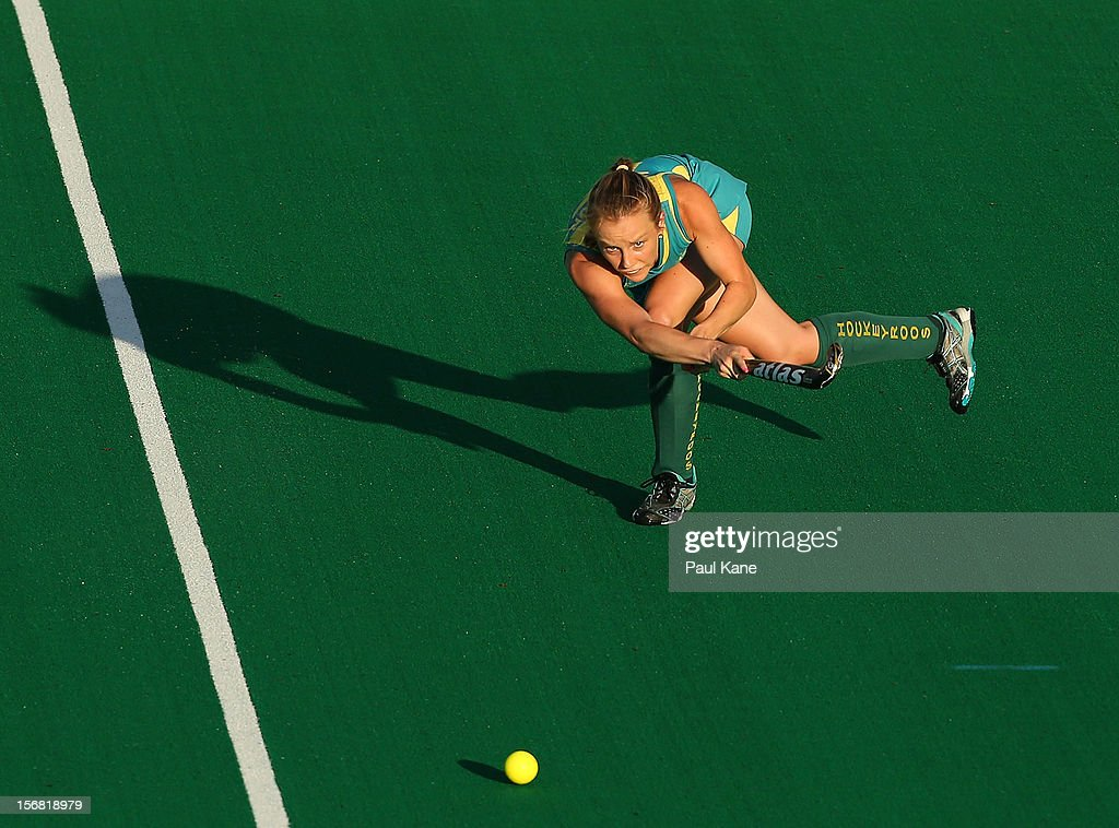 <a gi-track='captionPersonalityLinkClicked' href=/galleries/search?phrase=Jane+Claxton&family=editorial&specificpeople=10008974 ng-click='$event.stopPropagation()'>Jane Claxton</a> of Australia passes the ball in the womens Australia under 21 v Malaysia game during day one of the 2012 International Super Series at Perth Hockey Stadium on November 22, 2012 in Perth, Australia.