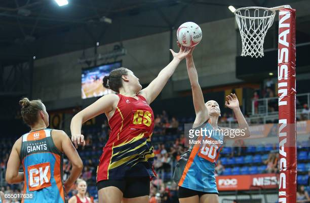 Jane Cook of the Force and Toni Anderson of the Giants contest possession during the round five ANL match between the Canberra Giants and the...