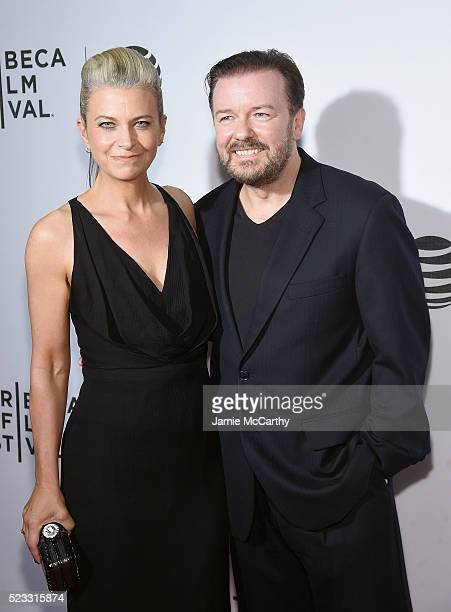Jane Fallon and Ricky Gervais attend Tribeca Talks After the Movie 'Special Correspondents' 2016 Tribeca Film Festival at John Zuccotti Theater at...