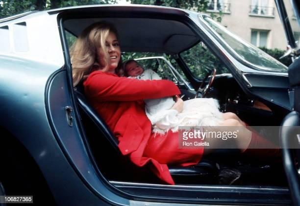 Jane Fonda and baby daughter Vanessa Vadim during Jane Fonda and Roger Vadim Depart from the Belvedere Hospital in Paris with Their New Baby Vanessa...