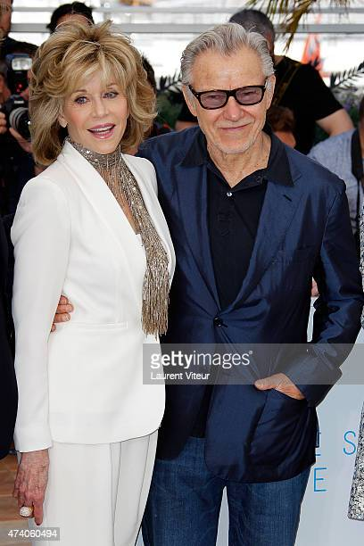 Jane Fonda and Harvey Keitel attend the 'Youth' photocall during the 68th annual Cannes Film Festival on May 20 2015 in Cannes France