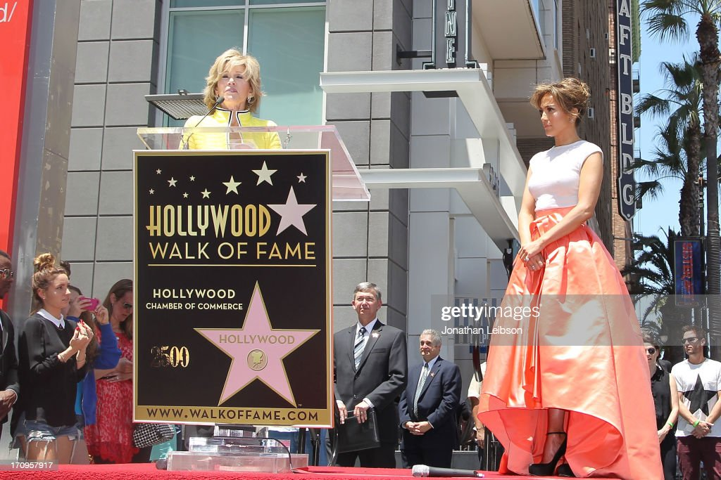 Jane Fonda and Jennifer Lopez attend the ceremony honoring Jennifer Lopez with a Star on The Hollywood Walk of Fame held on June 20, 2013 in Hollywood, California.