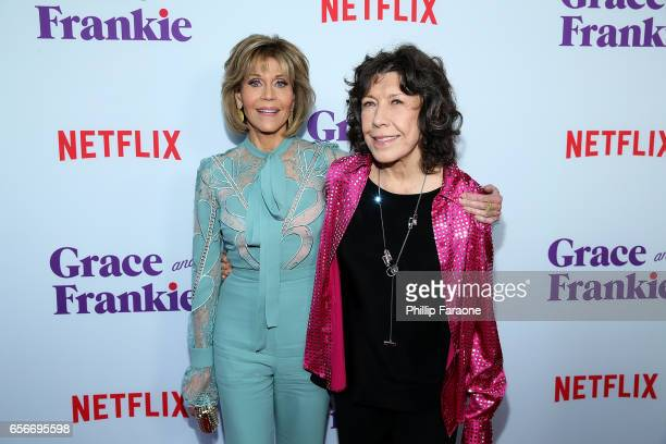 Jane Fonda and Lily Tomlin attend the screening for Netflix's 'Grace and Frankie' Season 3 at ArcLight Hollywood on March 22 2017 in Hollywood...