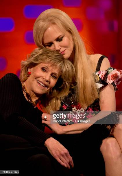 Jane Fonda and Nicole Kidman during filming of the Graham Norton Show at the London Studios to be aired on BBC One on Friday evening