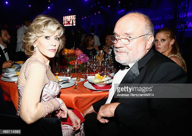 Jane Fonda and Peter Lindbergh attend amfAR's 21st Cinema Against AIDS Gala Presented By WORLDVIEW BOLD FILMS And BVLGARI at Hotel du CapEdenRoc on...